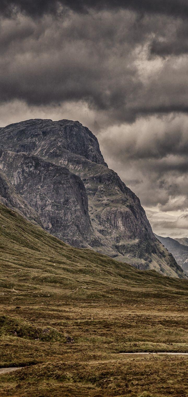 Mountains Clouds Cloudy Grass Wallpaper 720x1520