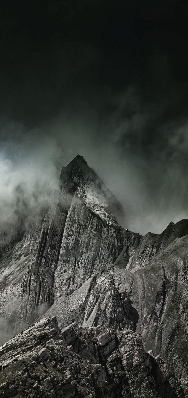 Mountains Fog Summit Wallpaper 720x1520