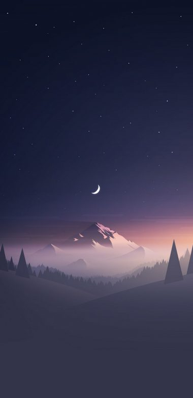 Mountains Moon Trees Minimalism Hd Wallpaper 720x1480 380x781