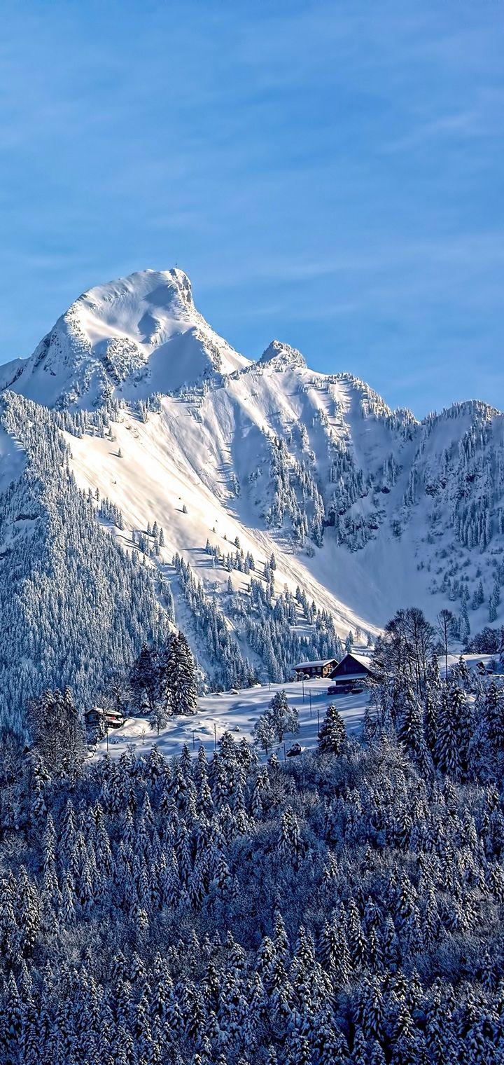 Mountains Snow Top Sky Wallpaper 720x1520