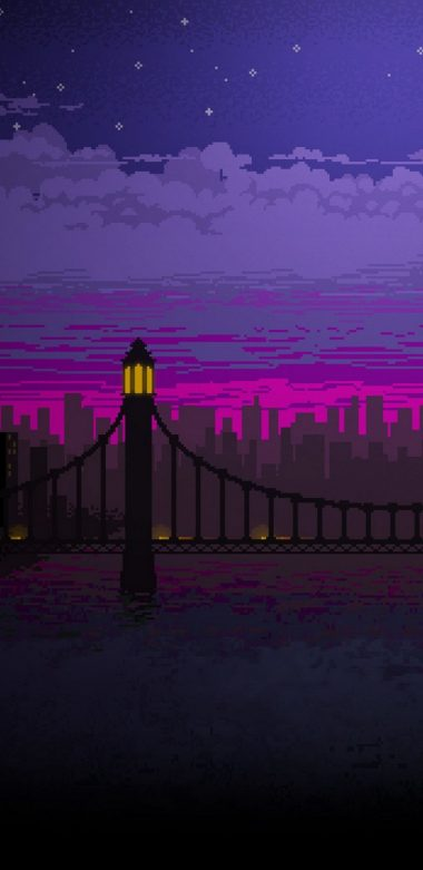 Pixel Art Bridge Night Cc Wallpaper 720x1480 380x781
