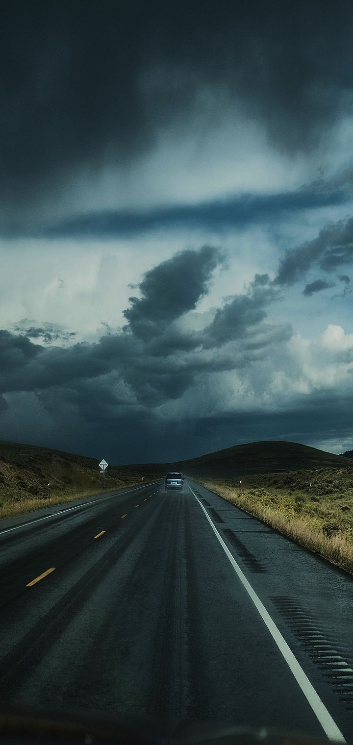 Road Clouds Auto Traffic Wallpaper 720x1520