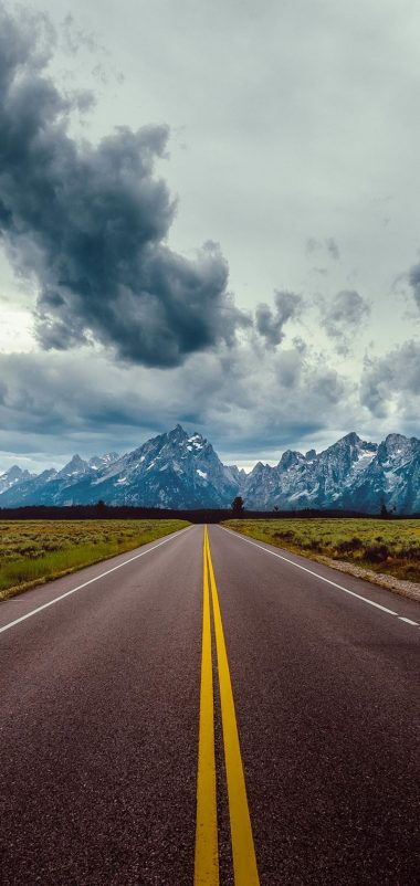 Road Field Horizon Mountains Wallpaper 720x1520 380x802