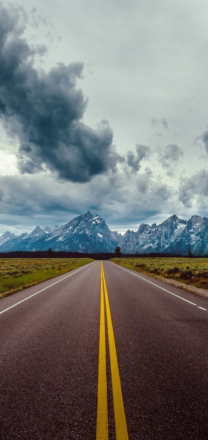 Road Field Horizon Mountains Wallpaper 720x1520