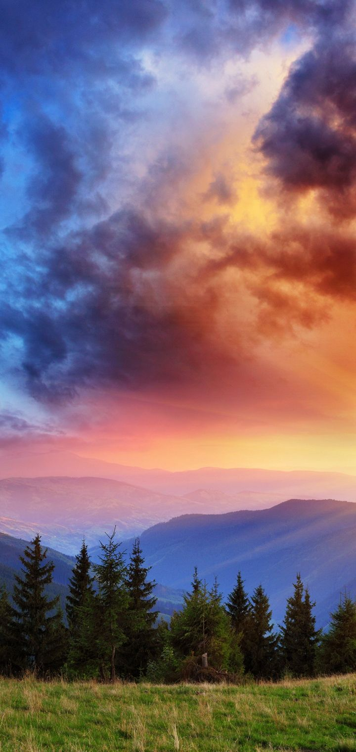 Scenery Mountains Sky Sunrises Wallpaper 720x1520