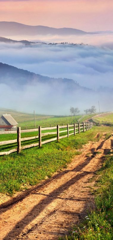 Scenery Roads Grass Fence Clouds Nature Wallpaper 720x1520 380x802