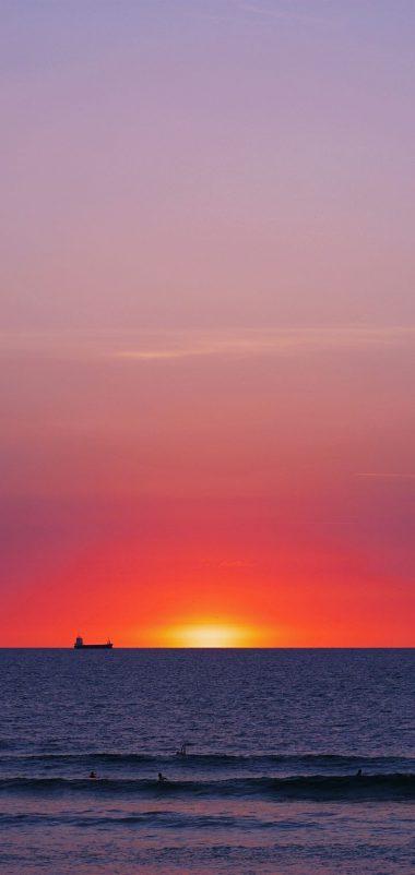 Sea Sunset Horizon Wallpaper 720x1520 380x802