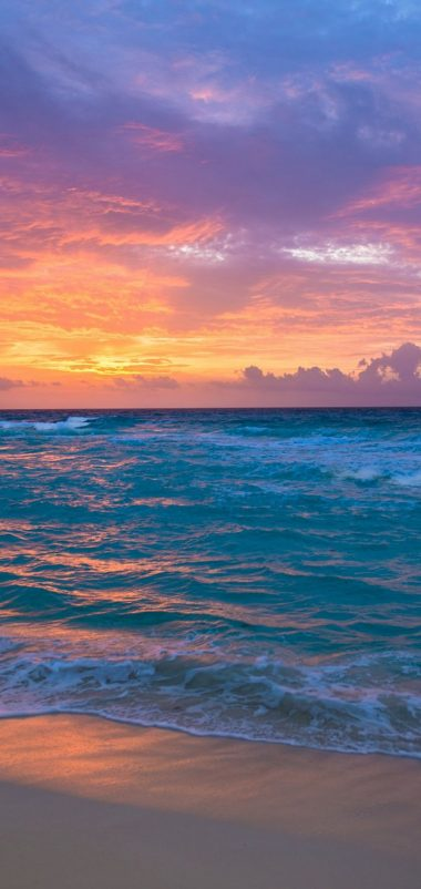 Sea Surf Sunrise Waves Sand Ocean Wallpaper 720x1520 380x802
