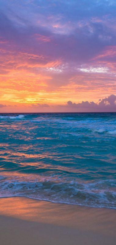 Sea Surf Sunrise Waves Sand Ocean Wallpaper 720x1520 380x802