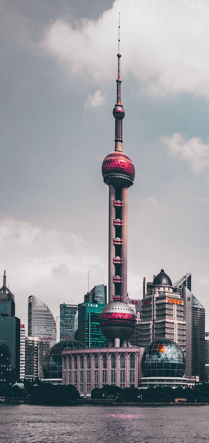 Shanghai China Skyscrapers Wallpaper 720x1520