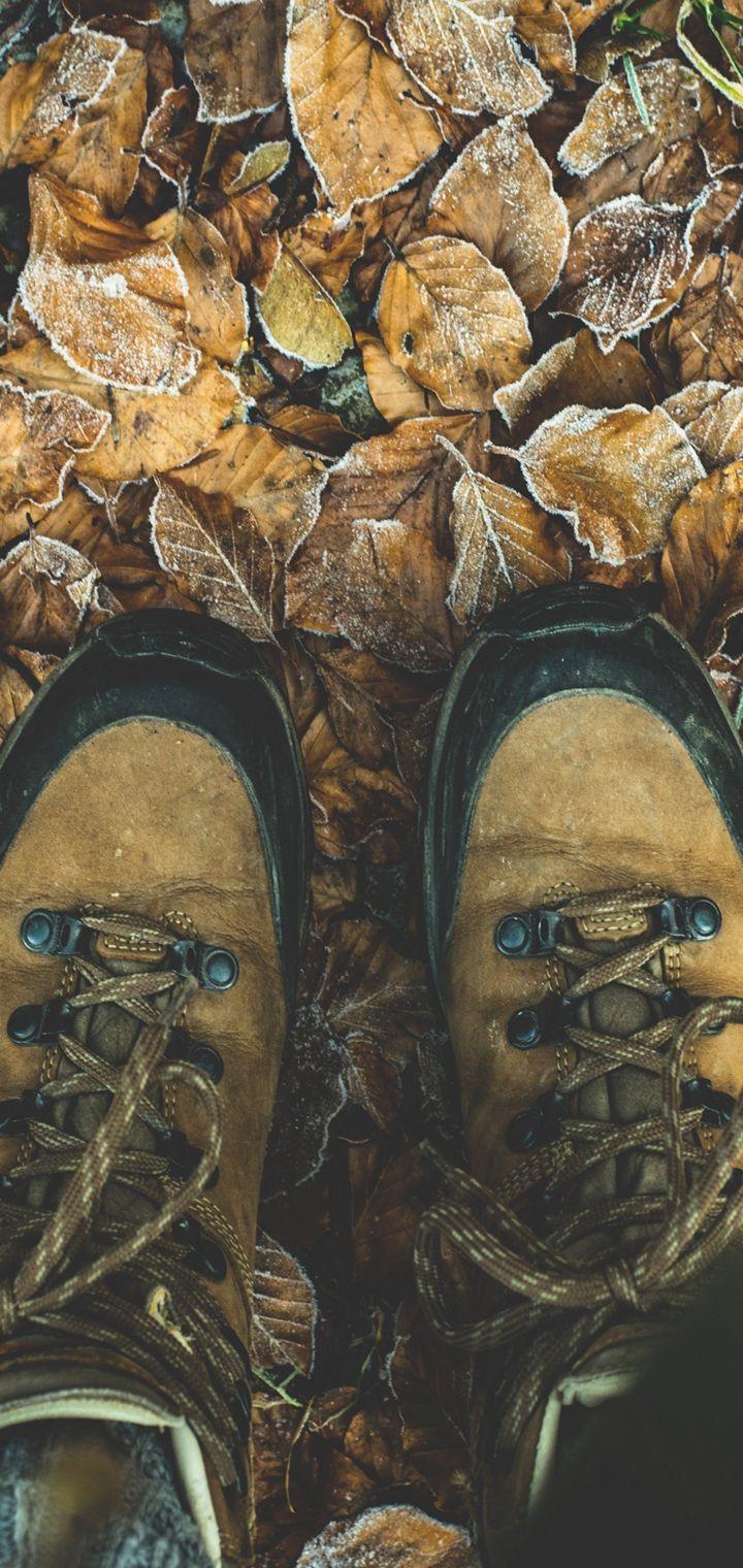 Shoes Autumn Legs Foliage Wallpaper 720x1520