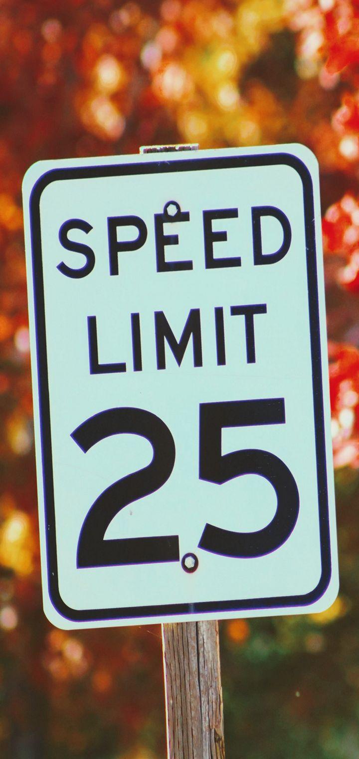 Sign Speed Restriction Autumn Wallpaper 720x1520