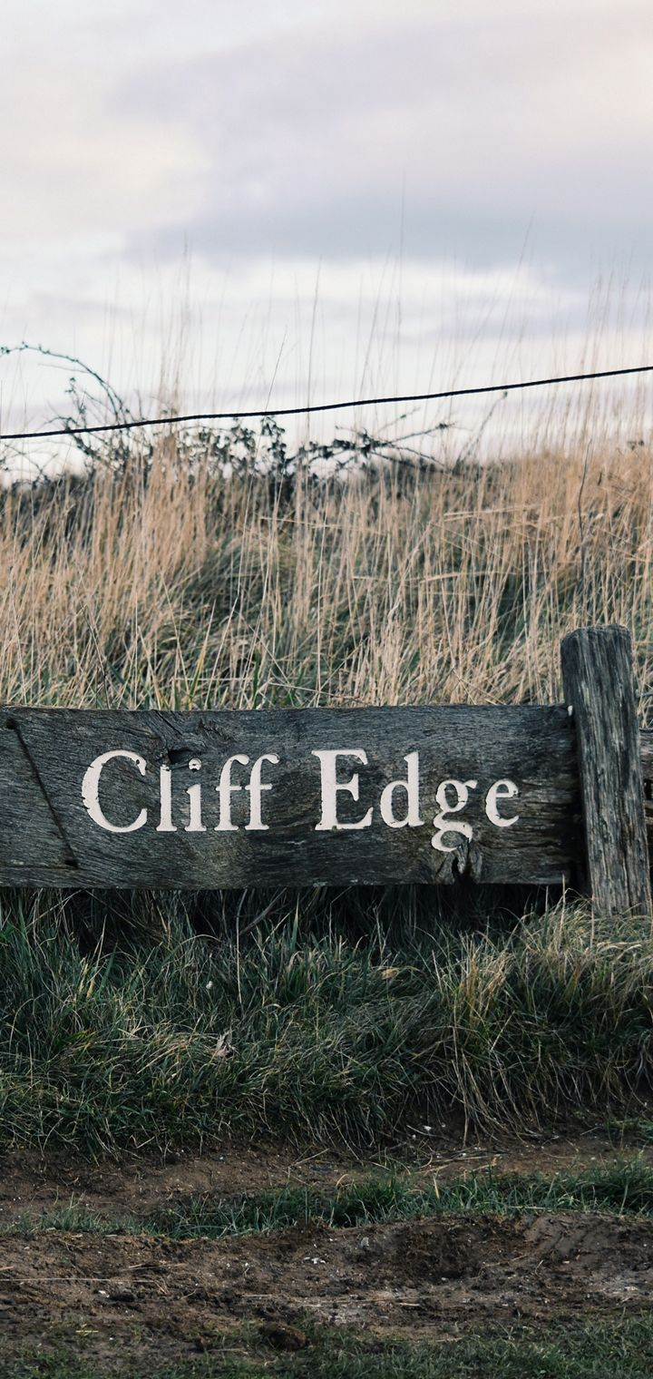 Signboard Inscription Field Grass Wallpaper 720x1520