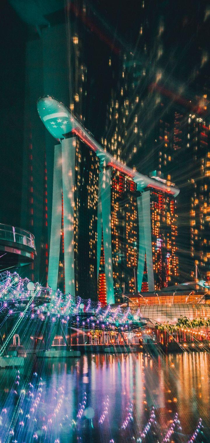 Singapore Night Building Wallpaper 720x1520
