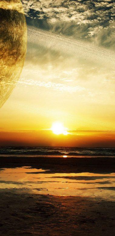 Sunset Sea Rings Ultra HD Wallpaper 720x1480 380x781