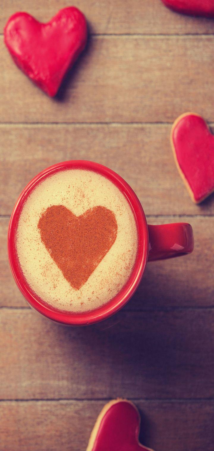 Sweet Coffee Heart Wallpaper 720x1520