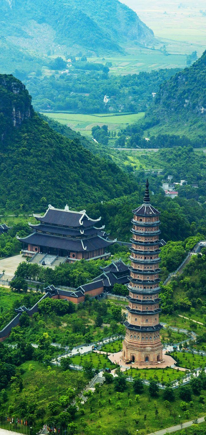 Trang An Bai Dinh Landscape Top View Wallpaper 720x1520