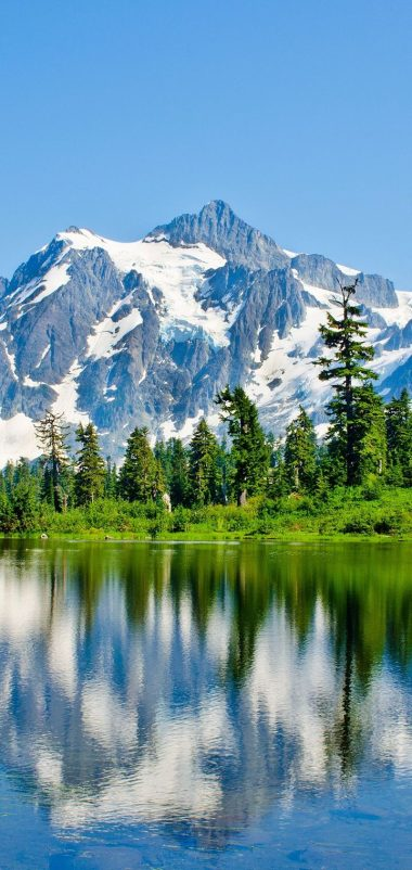 Washington Lake Mountains Trees Landscape Wallpaper 720x1520 380x802