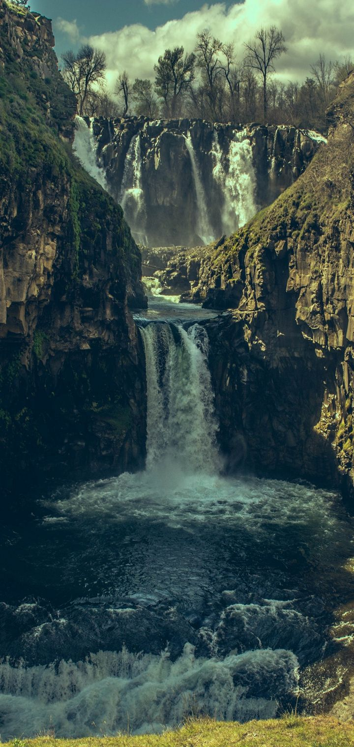 Waterfall Precipice Stones Shadow Wallpaper 720x1520