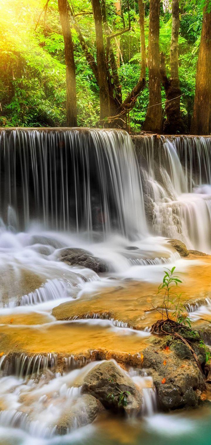 Waterfall River Landscape Nature Waterfalls Wallpaper 720x1520