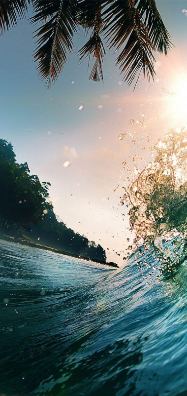 Waves Sea Ocean Beach Palm Trees Wallpaper 720x1520 380x802