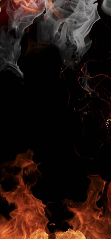 Fire Smoke Flowers Wallpaper 1080x2316 380x815