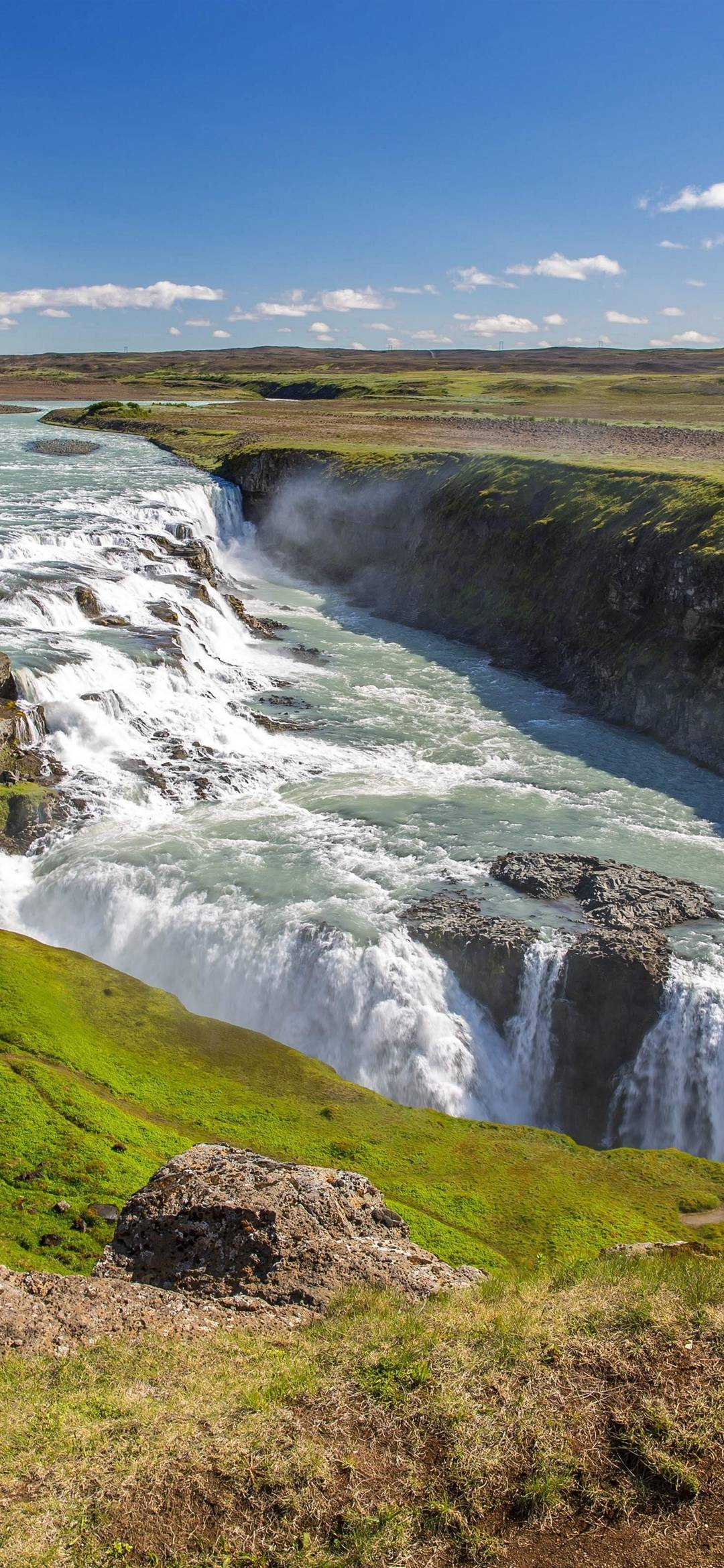 Gullfoss Waterfall In Iceland Hd Wallpaper 1080x2340