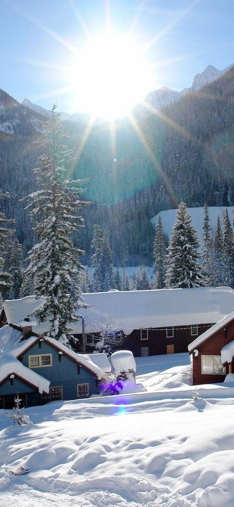 Mountains Houses Snow 1080x2340 768x1664