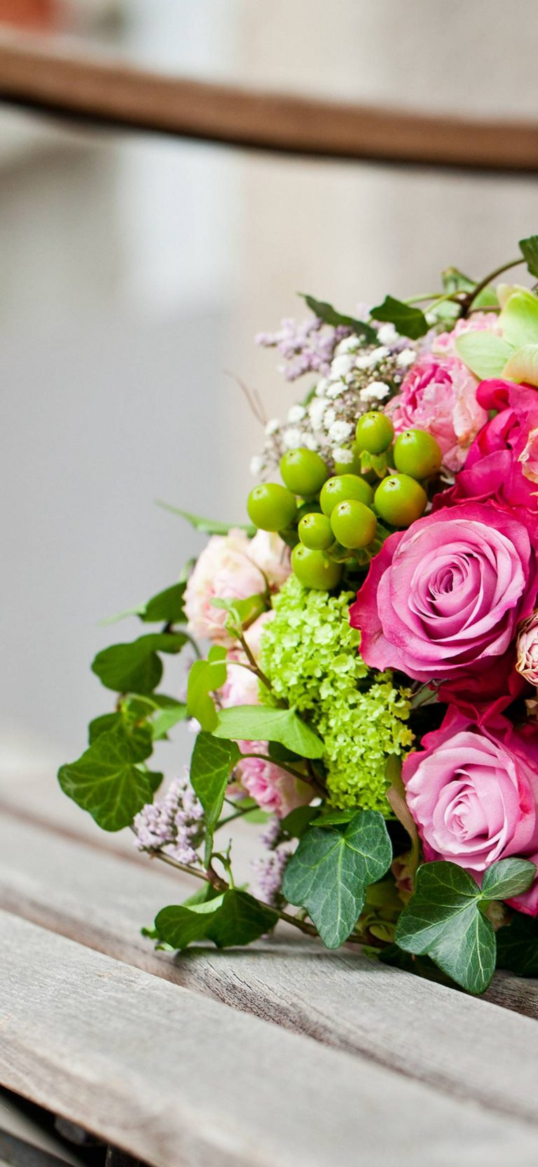 Pink Flowers Bouquet Leaves Roses 1080x2340 768x1664