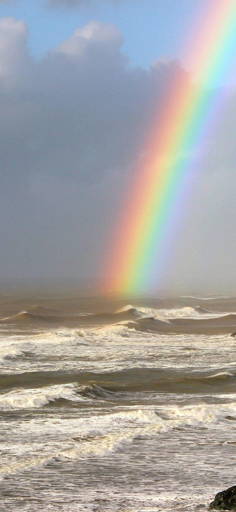 Rainbow On Sea Wallpaper 1080x2340 768x1664
