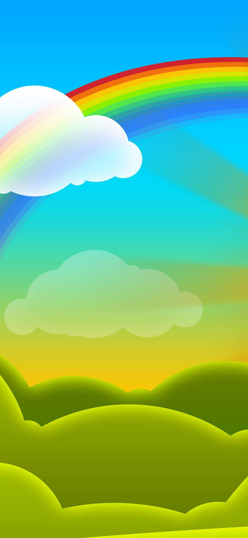Rainbow Vector Cartoon Wallpaper 1080x2340