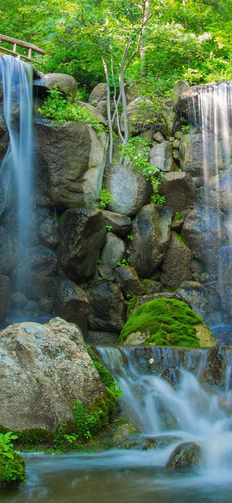 River Waterfall Rocks Plants Trees Nature 1080x2340 768x1664