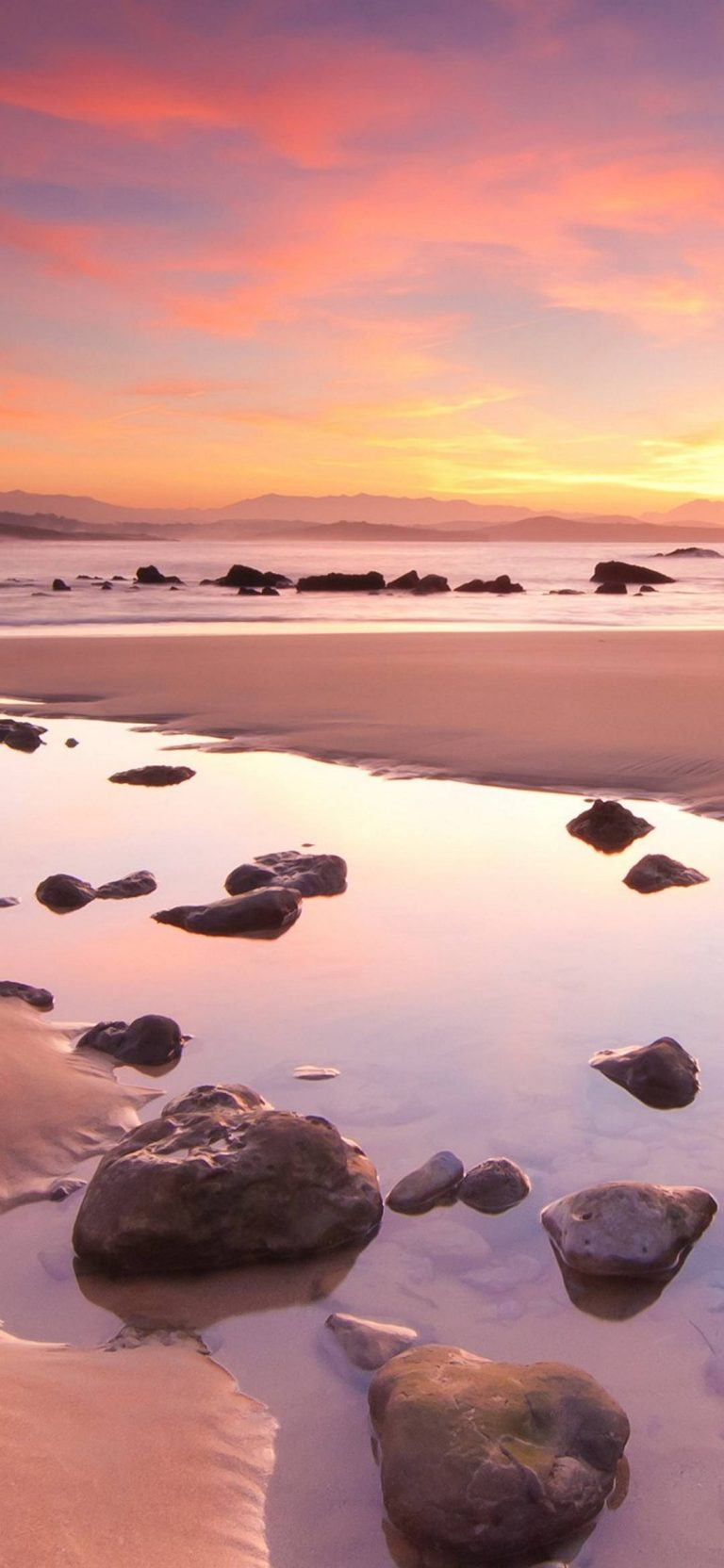 Sunset Mountains Landscapes Beach 1080x2340 768x1664