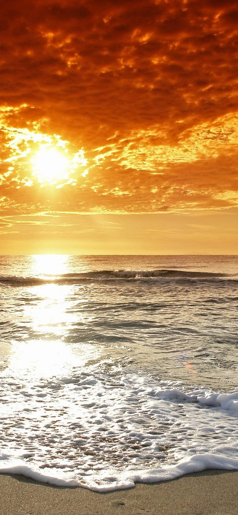 Water Clouds Sun Beach Sand 1080x2340 768x1664