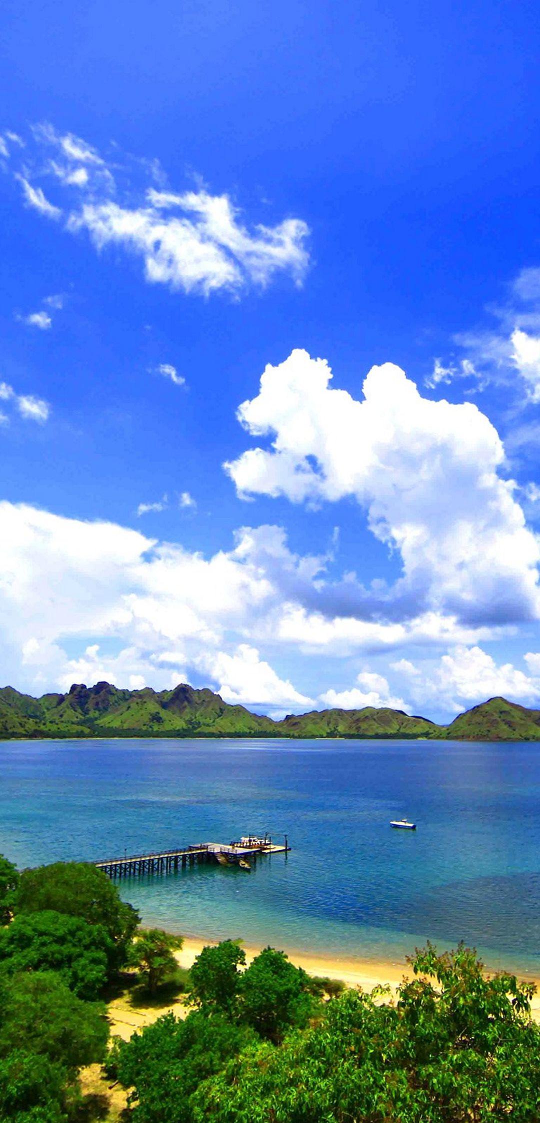 Landscape Island Komodo Sea Ocean