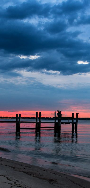 Night Sea Bridge Sky Landscape Ocean 1080x2244 380x790