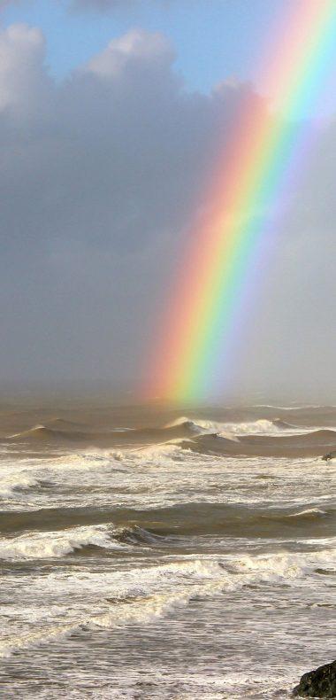 Rainbow On Sea Wallpaper 1080x2244 380x790