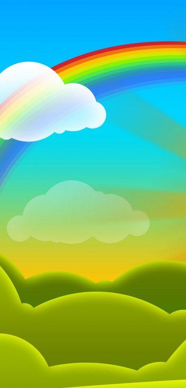 Rainbow Vector Cartoon Wallpaper 1080x2244 380x790