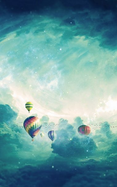 Air Balloons Surrealism Clouds 800x1280 380x608