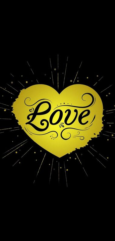 Black Yellow Love Heart 1080x2270 380x799