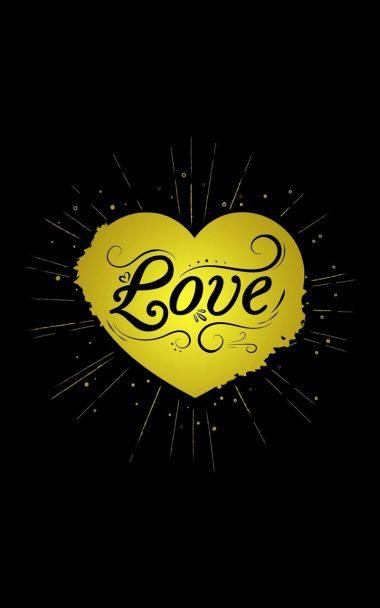 Black Yellow Love Heart 800x1280 380x608