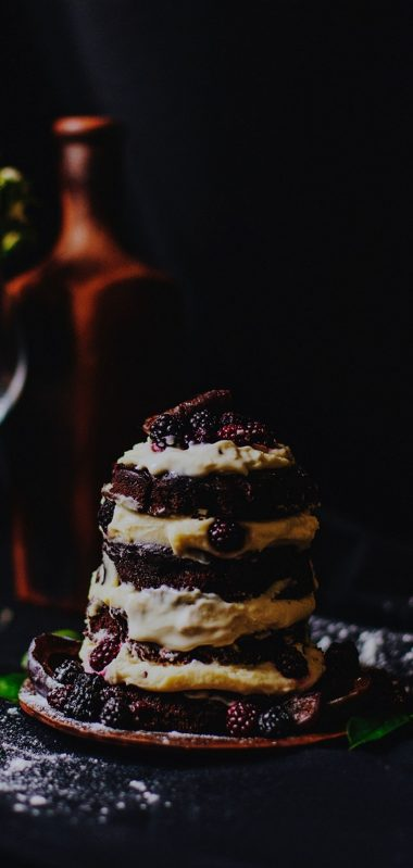 Cake Dessert Blackberries Raspberries Cream 1080x2270 380x799
