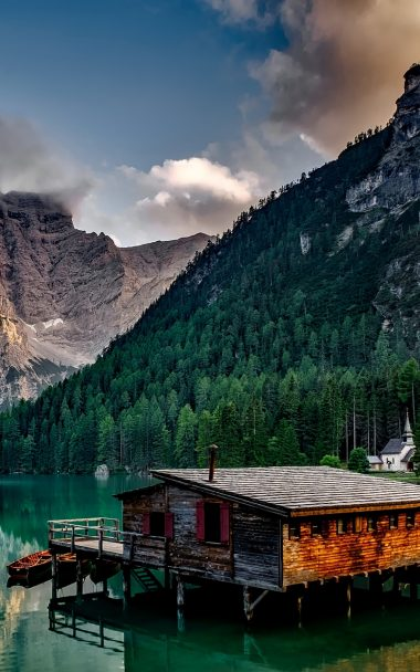 Italy Mountain Lake Building Mountain Landscape 800x1280 380x608