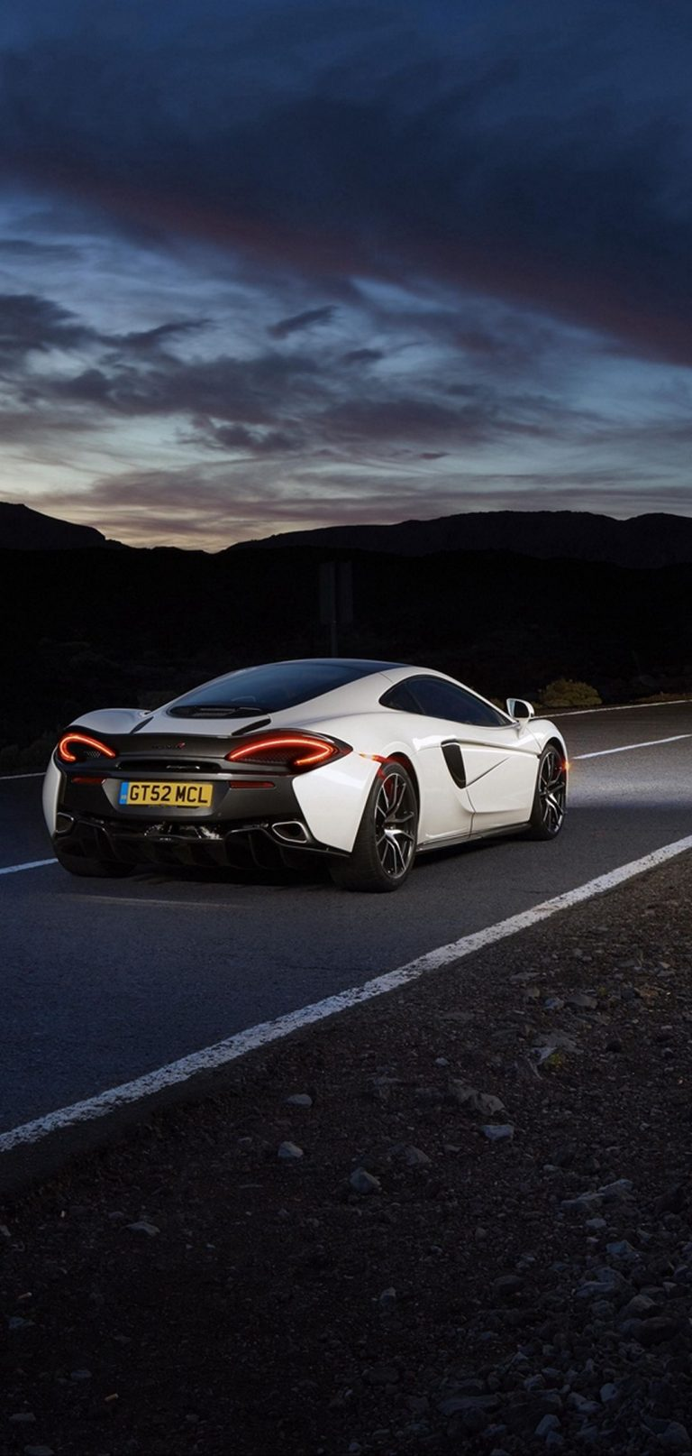 Mclaren 570gt Supercar Road Night Rear View 1080x2270 768x1614