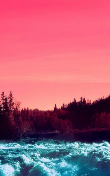 Pink Sky Nature Water 800x1280 380x608