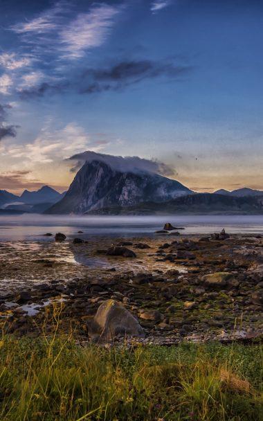 River Mountains Grass Rocks 800x1280 380x608