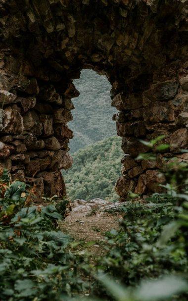Stone Cave Grass Nature 800x1280 380x608