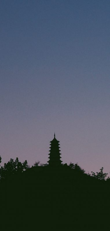 Temple Tower Sky Silhouette 1080x2270 380x799