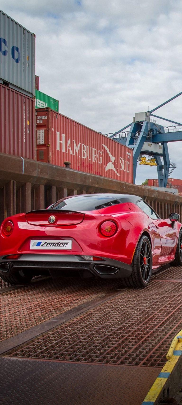 Alfa Romeo 4c Zender Red Rear View 1080x2400 768x1707