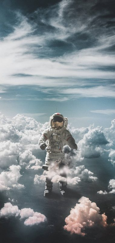 Astronaut Suit Space Clouds Wallpaper 1440x3040 380x802